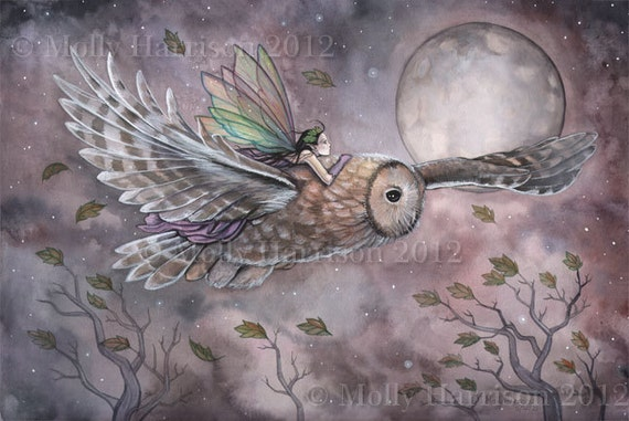 Soaring- Original Fairy and Owl Fantasy Art Painting by Molly Harrison