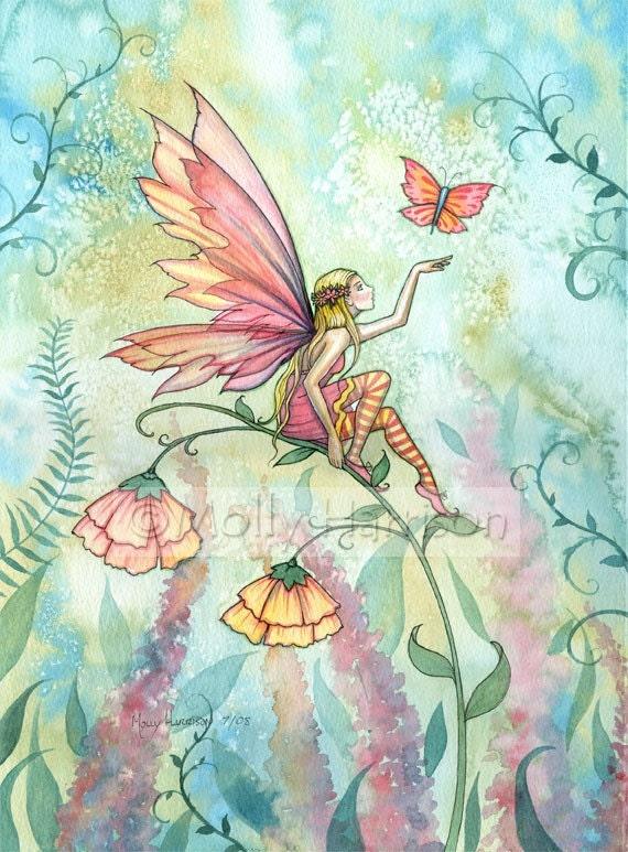 Fantasy Flower Fairy Fine Art Print by Molly Harrison 'Free' 9 x 12 Original Print