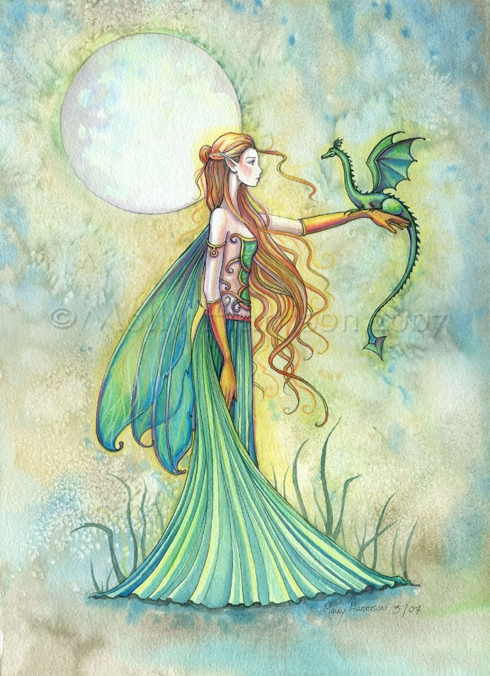 Discipline Fairy and Dragon Watercolor Giclee Print by Molly