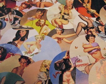 Pretty Pin Up Stickers - of the RISQUE Vintage Variety - Pack of 6 big Stickers