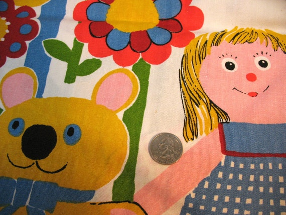RESERVED FOR BICHONBUDDIES - 1 yard - Vintage Children's Print - Canvas Material - Doll and Animals for a Supercute 70s Inspired Nursery