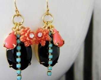 Coral Turquoise Jet Black Swarovski Rhinestone Flower Earrings