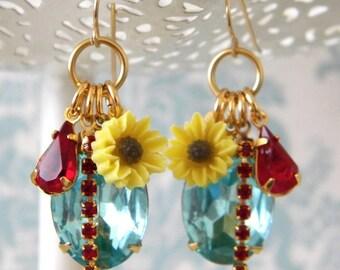 Aquamarine Rhinestone Daisy Vintage Charm Earrings