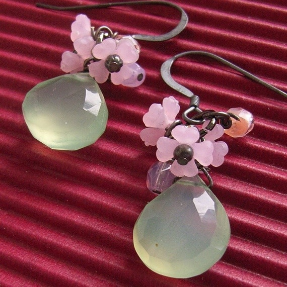 Green Chalcedony Floral Earrings