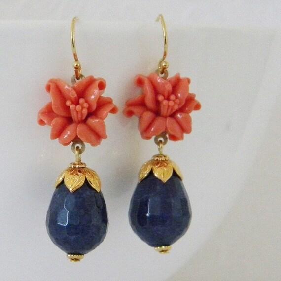 Vintage Coral Lily  Lapis Blue Jade Earrings