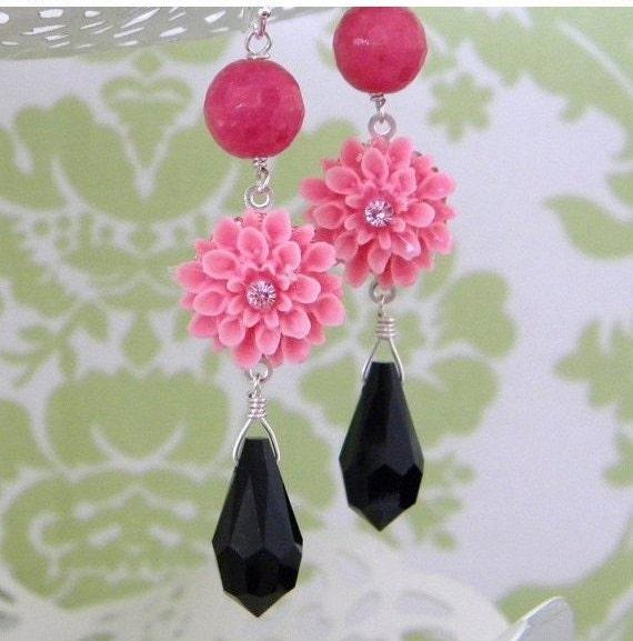 Rose Pink Jade Black Crystal Flower Earrings