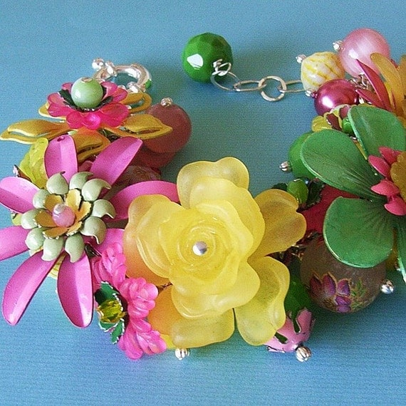 Floral Bracelet - Pink Green Yellow