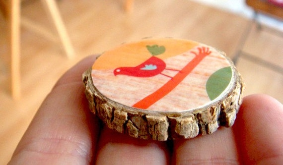 I can see you from here  -  wooden brooch