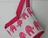 PINK elephants bucket bag market tote diaper bag