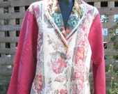 STUDIO SALE vintage brocade fabric shawl collar jacket