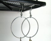Non-tarnish silver wire wrap earrings with fire polish beads - GF-E-003