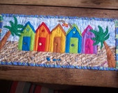 Beach Huts quilted wall hanging
