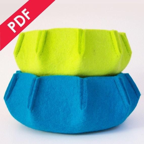 NEW Sewing Pattern PDF - URCHIN 3mm Wool Felt Nesting Bowl Set