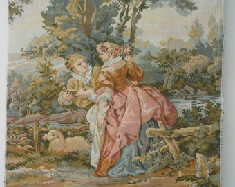 Romantic Tapestry Fabric Chair Panel LOVERS 26x21 Upholstery Fabric