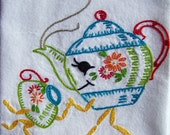 Hand Embroidery - Momma Teapot and Her Little Teacup Hand Embroidered Towel