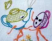 Hand Embroidery - Bright Anthro Teapot Kitchen Towel