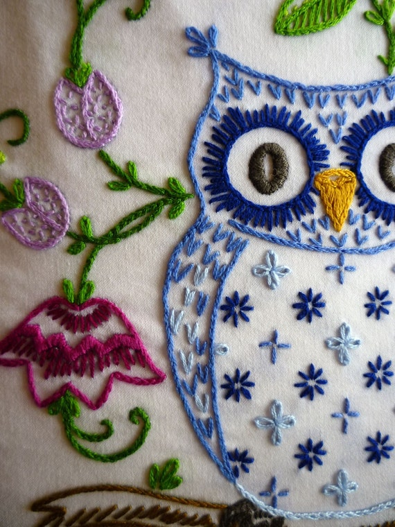 Woodland Owl Hand Embroidered Top Shirt