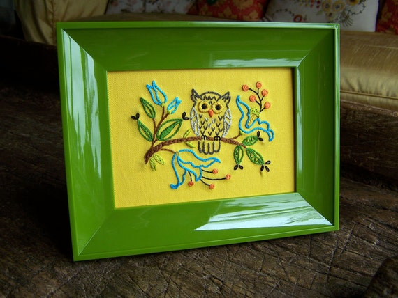 Hand Embroidery - Woodland Owl Framed Embroidered Art
