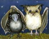 Bat and raven - two little friends ready for night time adventures - 5x7 print by Tanya Bond