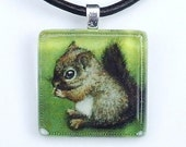 Baby squirrel square glass tile pendant - wearable art necklace featuring print of painting by Tanya Bond