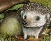 Little hedgehog guarding his mushroom - four postcards by Tanya Bond - MIX or Match