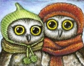 Two owl sisters in knitted hats - ACEO PRINT of an original painting by Tanya Bond