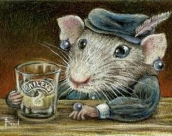 Patricia the rat drinking Baileys on a quiet night out - 5x7 print of an original drawing by Tanya Bond