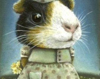 Eleanor the guinea pig picking daisies - 5x7 print by Tanya Bond would look fantastic in a nursery - great as a baby shower gift