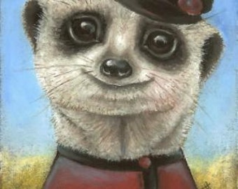 Yuri the meerkat - Russian meerkat - party animal - plays accordion - 5x7 print of painting by Tanya Bond