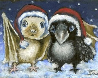 Bat and raven - little friends in Santas hats celebrating Christmas together - 5x7 PRINT of an original oil pastel painting by Tanya Bond