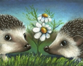 Hedgehogs on a date - Gorgeous little couple having a romantic rendezvous- 5x7 print of an original painting by Tanya Bond