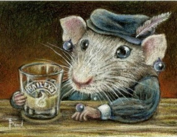 Patricia the rat drinking Baileys on a quiet night out - large fridge magnet - featuring print of a drawing by Tanya Bond