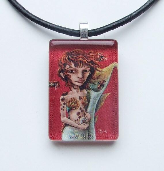 Seaflower - glass tile pendant - wearable art necklace featuring print of a mermaid drawing by Tanya Bond