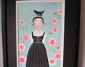 Studio Sale Original 9x12 on canvas Hollyhock Walk Julie Fillo