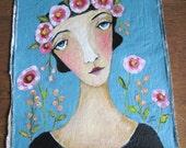 Studio Sale Fragment Muslin painting Flower Head Girl Anne Tyler
