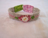 Hand embroidered summer linen bracelet by julie fillo pink 2
