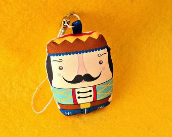 limited edition -- Boris - the sweet warrior - russian art doll style - keyfob / keychain/ cellphone charm -- (ship in 5 days)