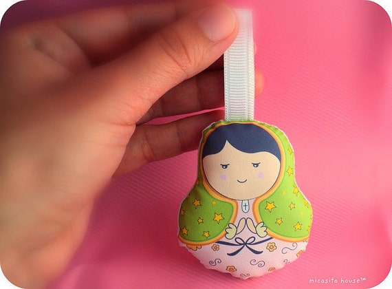 """limited edition - keychain /ornament/ charm --- """"Virgencita de Guadalupe"""" plush doll --- made to order"""