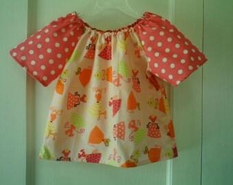 Pink Polka Dot Dresses Print Peasant Top in Size 3T