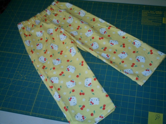 Dollar Sale Yellow Cat and Cherries Flannel Lounge Pants Size 4T Girls