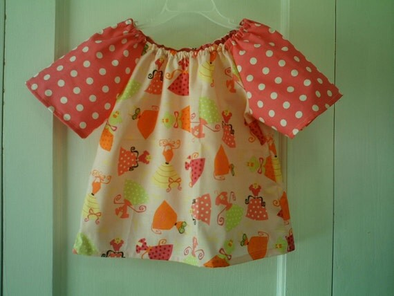 Size 3T Pink Polka Dot Dresses Print Peasant Top