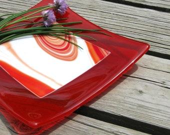 Modern Fused Glass Plate Tangerine Skies