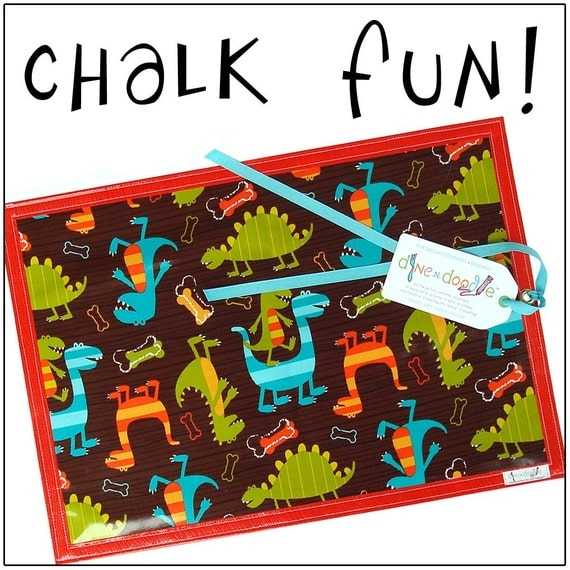 DINE.n.DOODLE(tm) Chalk Mat: Dinosaurs - laminated cotton, chalkcloth ... eat & entertain on the go - Free Shipping