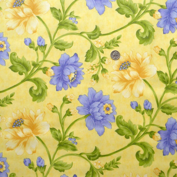 Laminated Cotton Fabric - Sunshine (yellow) by April Cornell for Moda - 1 Yard