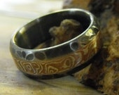 Rough Titanium and Mokume Gane Inlay Ring