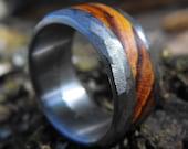 Wedding Ring - Titanium Ring - Distressed Ring - Wood Ring - Handmade Ring - Mens Ring - Womens Ring - Engraved Ring - Wedding Band