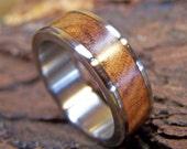 Titanium  Wedding Ring with Ancient Kauri Wood Inlay
