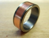 Titanium Wedding Ring with Copper Inlay