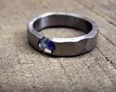 Titanium  Ring- Rough Sapphire Titanium Tension Set Ring