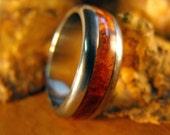 Titanium Wedding Ring with Amboyna Burl Wood Inlay